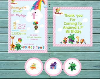 Pink Baby tv Invitation and food tags Printables ( PNG)