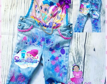 birthday denim shimmer and shine custom personalized overalls