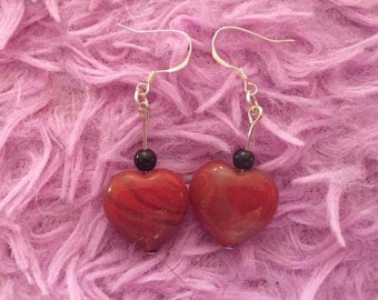 Agate red heart silver dangly earrings