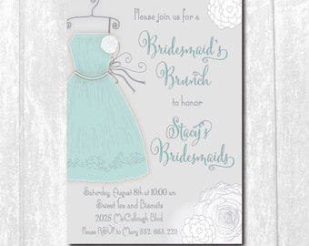 Bridesmaids Brunch Invitation printable/Digital File/Bridesmaids luncheon, brunch with bride, aqua, dress/Wording & Colors can be changed