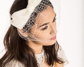 birdcage veil, wedding fascinator, bridal fascinator, wedding birdcage, bridal birdcage, bow birdcage, bow bird cage, ivory birdcage veil,