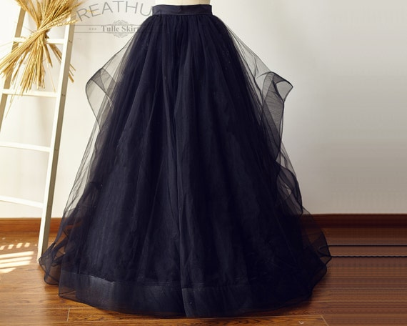 maxi black horsehairtulle skirt wedding bridal bridesmaid