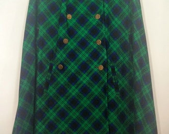 Vintage 70's Blue and Green Plaid Water Repellant Rain Cape by Weatherbee | XS Small Medium Large XL