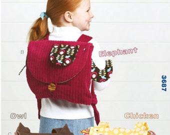 Kwik Sew sewing pattern K3687 Kids' Animal Back Packs, Elephant, Owl, Chicken, Boys, Girls, Children - new and uncut