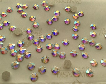 336 pieces Swarovski #2028 ss16 Crystal AB Non Hotfix Flatback Rhinestones
