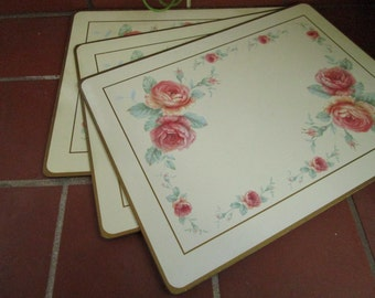 Pimpernel Placemats Pink Roses Vintage 1960's Table Decor Serving Dining Art Wall Decor - Kit037