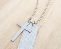 Mens necklace, bar necklace, dog tag cross necklace for him, boyrfriend gift husband uncle, handmade mens jewellery