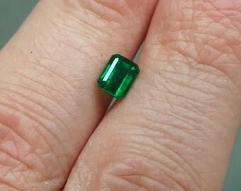 0.90 Carat Natural Emerald Cut Emerald