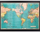 Framed Cork Board Map of The World