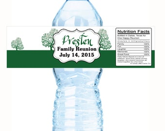 """Green Tree Family Reunion Water Bottle Labels- Select the quantity you need below in the """"Pricing & Quantity"""" option tab"""