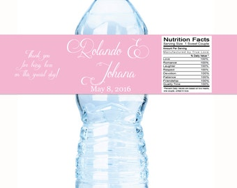 Personalized Wedding Decor - 30 Wedding Water Bottle Labels - Need a different quantity - select what you need in the drop down box