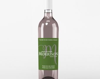 Wedding Wine Labels - Monogram Wine Labels - Wedding Wine Bottle Labels - Wine Bottle Stickers - Custom Color Wine Labels