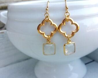 Clover Moonstone Earrings
