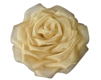 Hair flower fascinator, Floral headpiece, Organza rose hair clip, Wedding corsage, Bridesmaid's headdress YELLOW GOLD