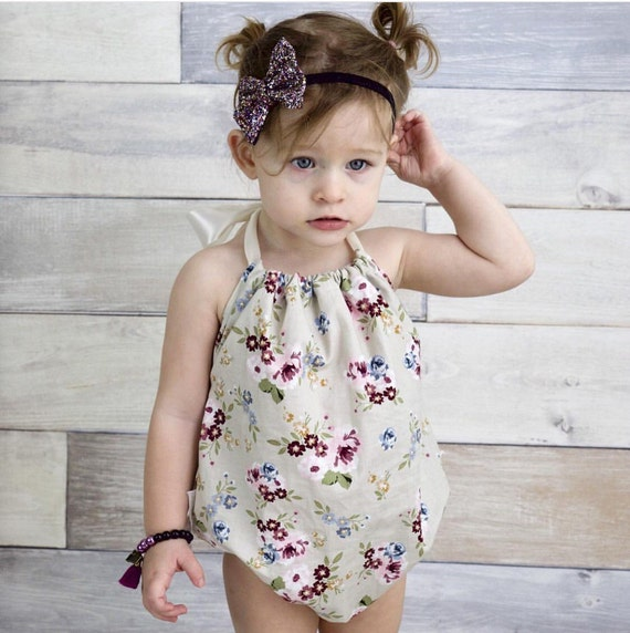 Sunsuit Ruffle Romper Vintage Floral Baby Romper Limited