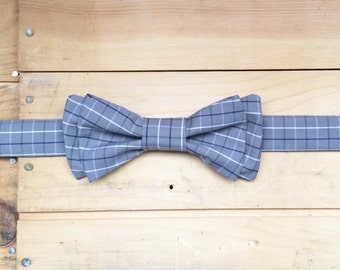 Hand Made Grey/White/Navy Plaid Bow Tie, Made From Reclaimed Cotton.