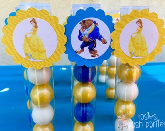 Beauty and the Beast inspired Favors Gumball tubes favor goodies for birthdays Beauty and the Beast favors SET OF 12