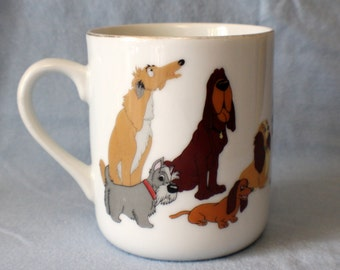 Walt Disney Productions Lady & the Tramp Porcelain Mug Cup Disneyland Japan