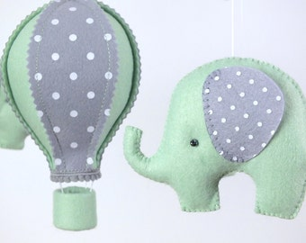 Baby Mobile, Hot Air Balloon Mobile, Elephant Mobile, White Mint Grey Baby Mobile, Baby Crib Mobile,  Gift Packaging
