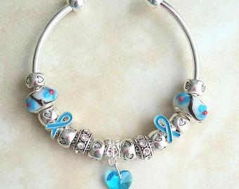 Blue Ribbon Awareness Crystal Heart Rhinestone Charm Silver Plated Bracelet Bangle 7.5 Inches