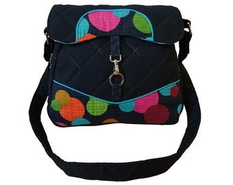 Bag handbag purse shoulder bag points dots handbag shoulder bag flower black green orange purple black green Berry pink