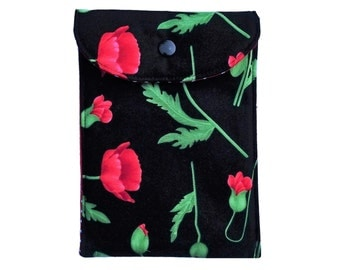 All in / mobile bag L poppies poppy Red Green Black