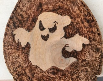 Wood Burned Ghost sign, wall art, pyrography, ghost ornament, handmade gifts, halloween decor, halloween decoration, halloween ornament