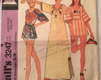 McCalls 3247; 1972; Top and Caftan Dress; Bust 34-36