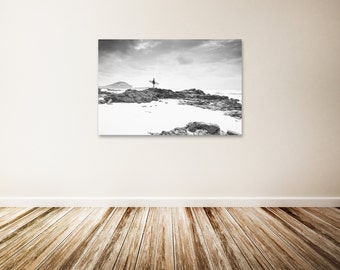 "Hawaii Canvas Art, Black and White Hawaiian Wall Art, Surfing Decor, Surfboard, Large Landscape Photography - ""Morning Serenity"""