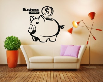 Wall Vinyl Sticker Decals Mural Room Design Pattern Art Decor Business Money Collector Coin Pig bo2238