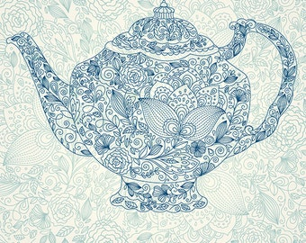 Vintage coffeepot in engraving style . Fine art print. Beautiful print for living room or dinner room