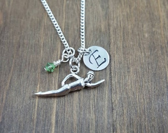 Personalized Swimmer Necklace - Hand stamped Monogram Swimmer Necklace - Initial, Birthstone Necklace - Swim Team Necklace
