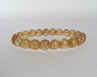Golden Rutilated Quartz Bracelet, Rutile Quartz Bracelet, Golden Bracelet, Gemstone Bracelet, Healing Bracelet, Stretchy Bracelet