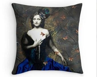 Metamorphosis art deco throw pillow decorative pillow and pillow cover by Tori Jane