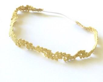 Gold Lace Headband, Boho Headband, Gold Lace Halo, Halo, Gold Halo, Lace Headband, Gold Headband, Newborn Headband, Baby Headband