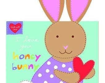 Huggable & Lovable Books by Studio E - Honey Bunny - Cotton Woven Fabric