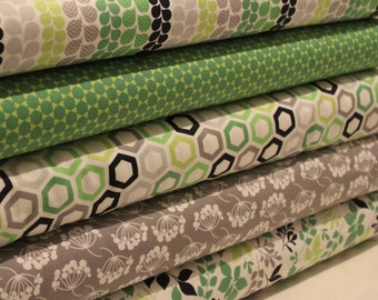 Green, Grey and Navy Fat Quarter Bundle - 100% Cotton, Quilting and Patchwork Fabric