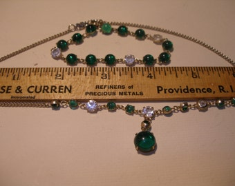 Green Glass Bead Cabochon and White Rhinestone Necklace Set(467)