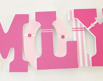 Girl Nursery Hanging Letters, Wood Wall Hanging Letters, Nursery Decor