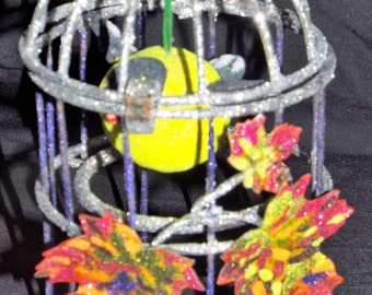 Bird cage, autumn leaves, yellow bird, colorful