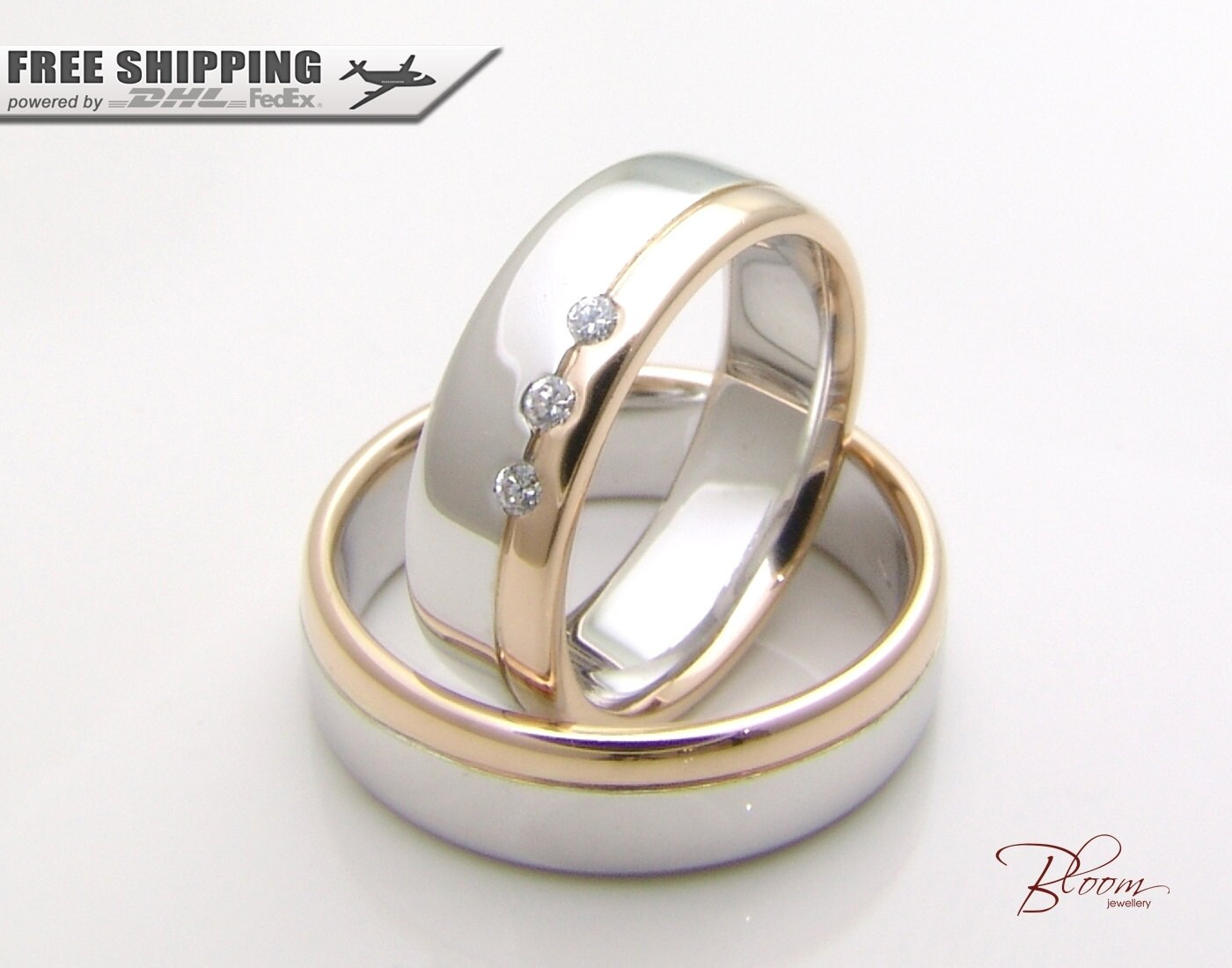 gold couples ring set 14k solid gold wedding band two tone