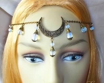 Opalite Moon Circlet, Moon Headpiece, Headdress, Moon Goddess, Bronze Headpiece, Pagan, Wiccan, Wicca, Festival, Handfasting, Head Jewellery