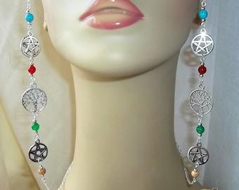 Pagan Glasses Chain, Wiccan Glasses Chain, Wicca, Tree of Life, Spectacles Chain, Pentacle, Pentagram, Eyeglasses Chain, Gemstone Beads