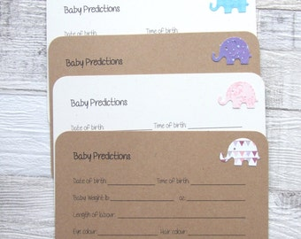Kraft Or Ivory Cream, Baby Shower, Baby Prediction Cards, Baby Elephant Cards, Guest Cards - Set Of 10 - UK