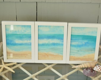 Framed original watercolor painting beach scene - ocean water landscape picture nautical decor
