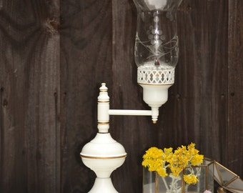 White Lamp with Gold Detail and Berry Hurricane