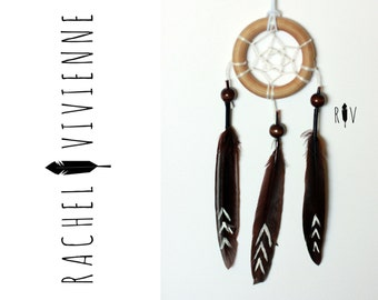 2 Inch Simple Wood Ring Brown With Aztec Arrow Dreamcatcher Car Accessory