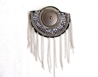 Silver Beaded Shoulder Pads Fashion Craft Sew On Costume Embellishment Shoulder Epaulette