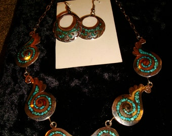 Vintage 1970's  Micro Inlay chip turquoise and coral necklace, earring set, signed