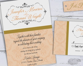 Classic Wedding Invitations Printable, DIY Elegant Wedding Invites, Modern Peach & Gold Damask Wedding Invitation, Traditional Wedding